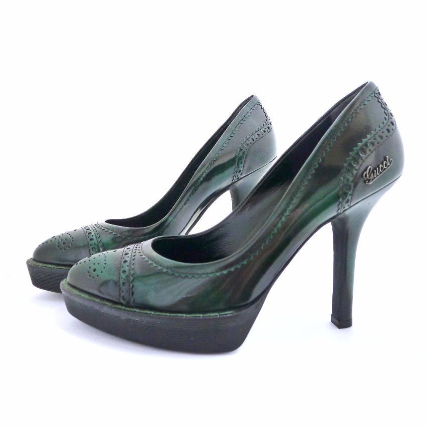 3db5c92ff7 Gucci Avril Green Leather Platform Pumps | HEWI London