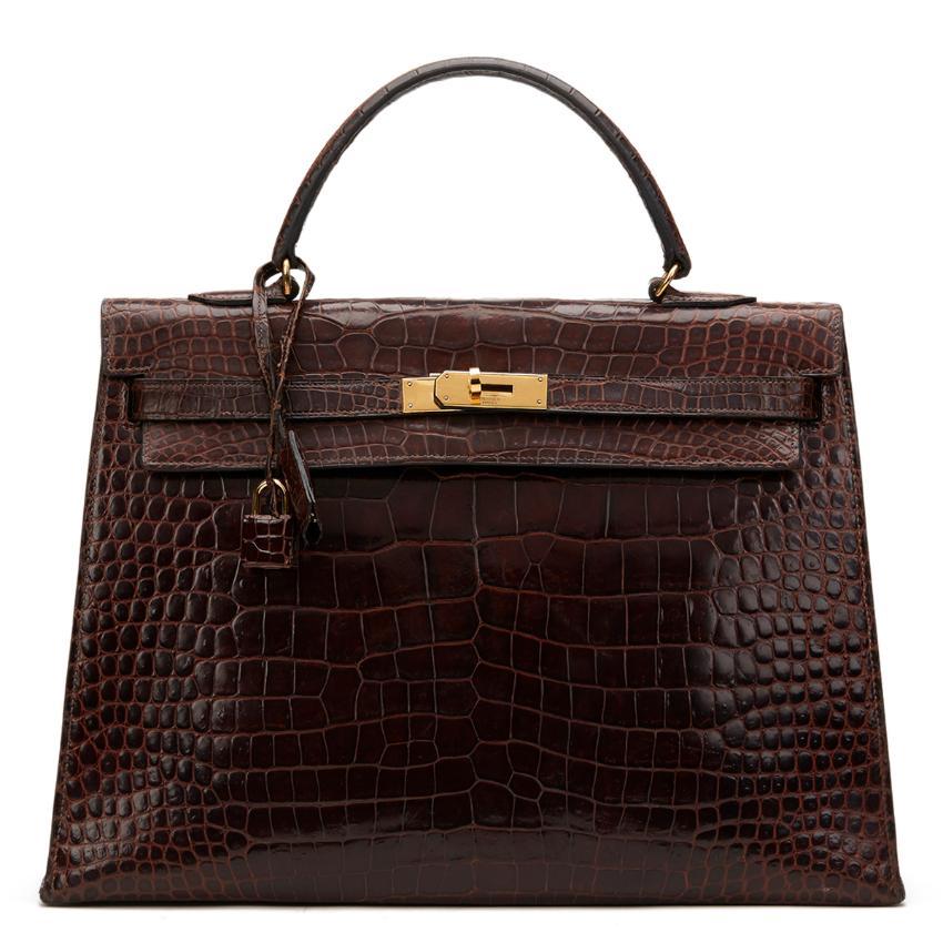 Hermes Brown Crocodile Leather Vintage Kelly Sellier 35CM 1974