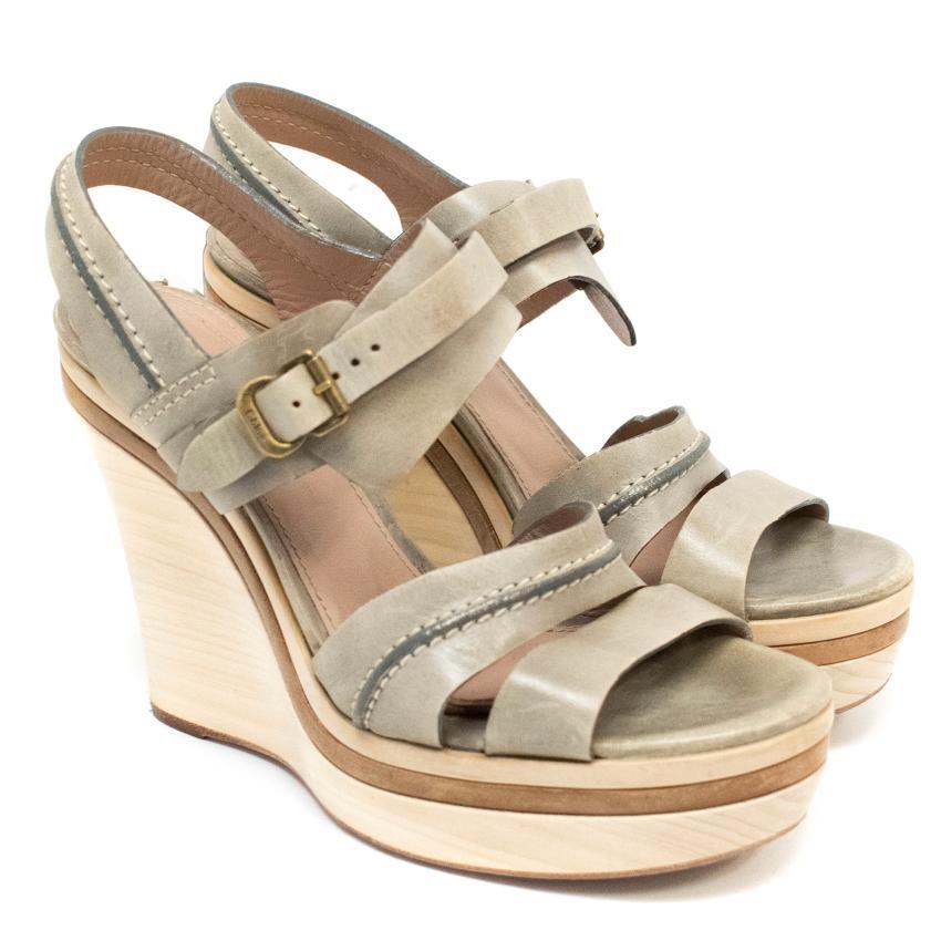 Chloe Taupe Wedge Sandals