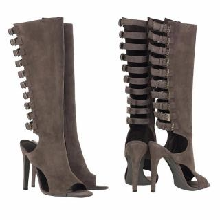 Halston Clou Peep Toes Suede Knee High Boots