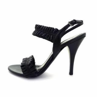 Burberry Black Ruffle Leather Strappy Sandals
