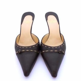 Fendi Selleria Black Leather Mules