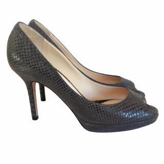 Jimmy Choo Gray Snakeskin Peep Toes Platform Heels