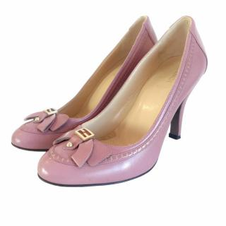 Fendi Pink Leather Pumps With Gold Hardware