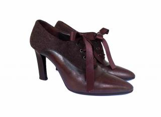 Fendi Brown Felt Leather Oxford Boots