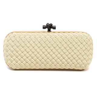 Bottega Veneta Cream Intreccio Woven Knot Clutch