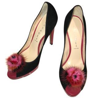Casadei Black Suede Heels with Fur Embellishment
