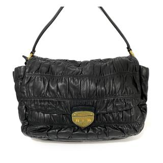 Prada Black Nappa Leather Pattina Gaufre Shoulder Strap Bag