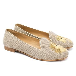 Chatelles Sand Raffia 'Licorne' Slippers