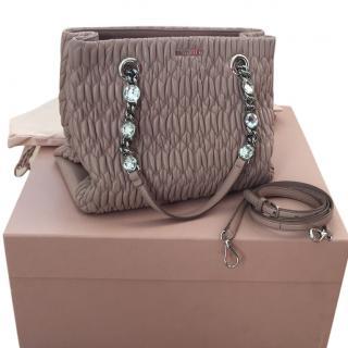 Miu Miu Crystal Matelasse Leather Bag