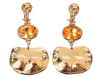 Misani gold single art earring with diamond and gemstone