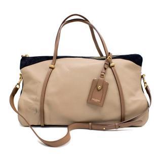 Nina Ricci Paris Beige Leather and Suede Shoulder Bag