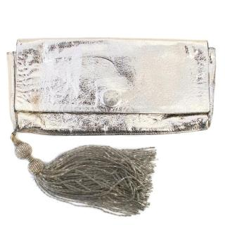 Anya Hindmarch Gold Clutch With A Beaded Tassel
