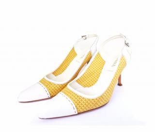 Prada Leather Raffia Slingback Heels