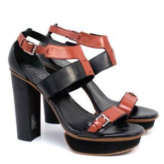 Tods Black Platform Sandals