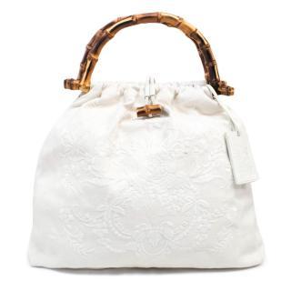 Ralph Lauren Cream Canvas Bamboo Tote Bag