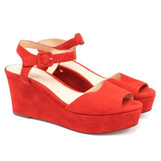 Cole Haan Red Suede Wedged Sandals