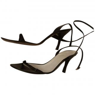 Pollini black leather sandals size 5