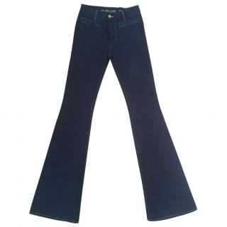 MIH Marrakesh mid rise kick flare navy blue jeans
