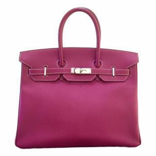 Hermes Birkin 35 Tosca Rose Tyrien Epsom Leather Bag