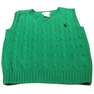 Ralph Lauren Boys Green Sleeveless Sweater