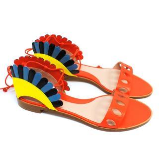 Paula Cademartori Multicolour Lotus Flat Sandals