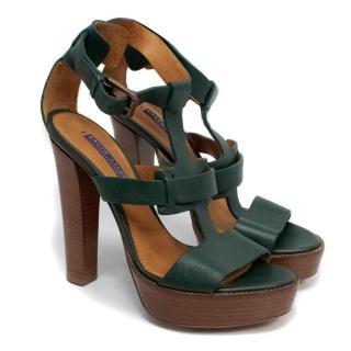 Ralph Lauren Green Leather Heels