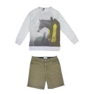 Stella McCartney Kids Green Shorts and Grey Printed Jumper Set