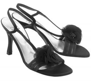 Stuart Weitzman Black Satin & Organza Peep Toe Sling Back Sandals