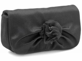 Stuart Weitzman Black Satin & Organza Clutch Bag