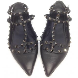 Valentino Rockstud Black Leather Ballerinas