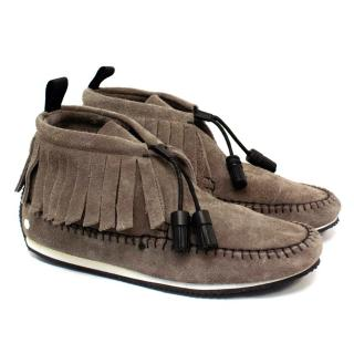 Rag & Bone Ghita Taupe Moccasin Fringed Ankle Boots