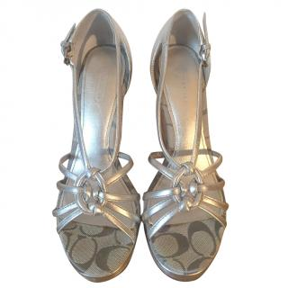 Coach 'Joslin' silver cork wedge strappy sandals