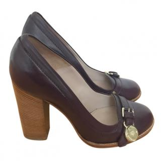 Mulberry Aubergine Leather Heels