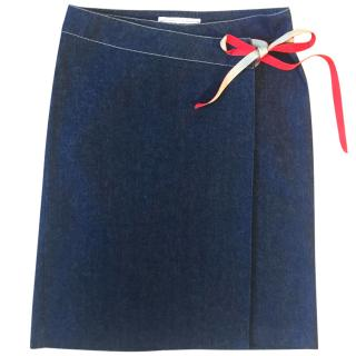 Kenzo Dark Indigo Wrap Around Denim Skirt