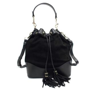 Aspinal Of London Black Suede And Leather Bucket Bag