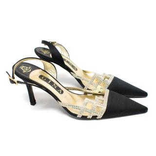 Gina Black Satin Diamante Sling Back Heels