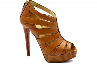 Christian Louboutin Brown Leather Peep-Toe Platform Cage Heels