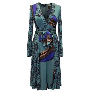 Issa Teal Printed Silk Midi Dress