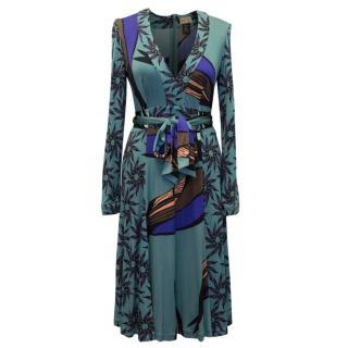 Issa Teal Printed Silk Midi Dress
