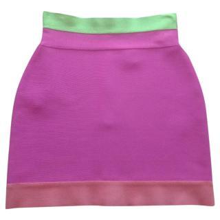 Herve Leger Pink Mini Skirt