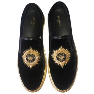 Balmain Queen Black Velvet Sneakers