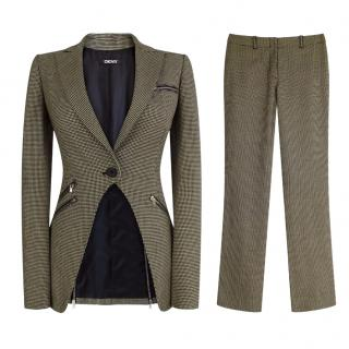 DKNY Black and Beige Wool Zip Trouser Suit