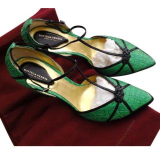 Bottega Veneta Green Crocodile Heels