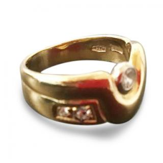 Manfredi Signed Yellow Gold Ring with Diamonds