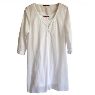 Velvet White Cotton Tunic Dress