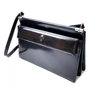 Gianni Versace Vintage Black Glossy Leather Shoulder Bag