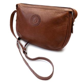 Fendi Vintage Brown Leather Crossbody/ Shoulder Bag.