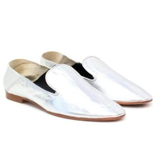 Meandher 'Talitha' Silver Leather Slippers