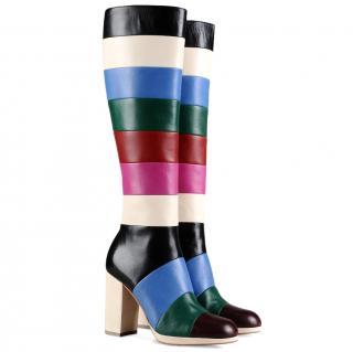 Valentino block stripe boots